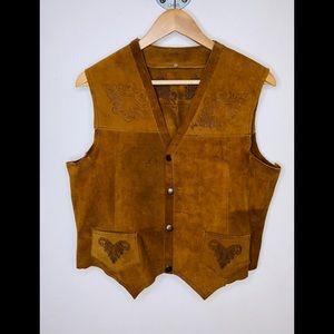 Vintage leather/suede oversized western vest,